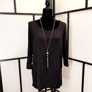 Elegant 3/4 Sleeves Semi Sheer Back Blouse